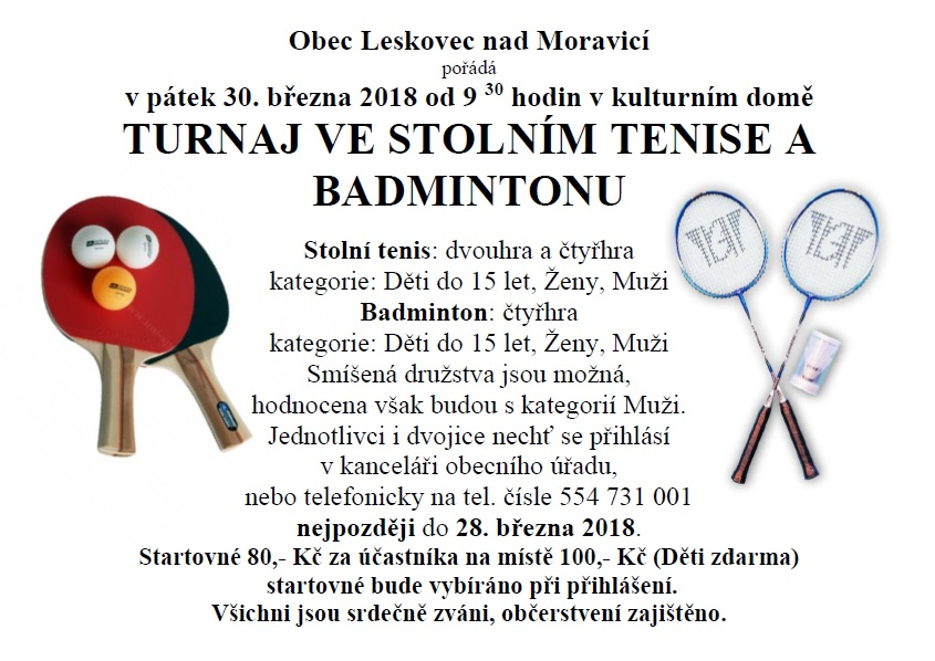 Turnaj v badmintonu a stolním tenise 1